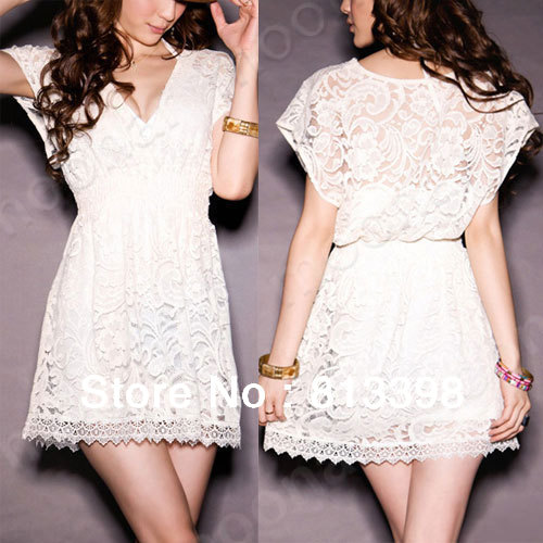2013 NEW Wome V neck Lace Dress MIni top girl's Dress White lace to see through summer dress FREE SHIPPING e0719-in Dresses from Apparel & Accessories on Aliexpress.com