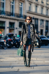 shorts,jacket,scarf,sweater,shoes,bag,sunglasses,jewels,suede shorts,blue shorts,top,animal print,infinity scarf,leather jacket,black leather jacket,black jacket,boots,black boots,green bag