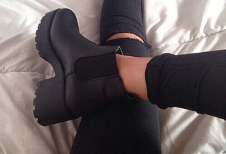 shoes boots black platform shoes chunk grunge