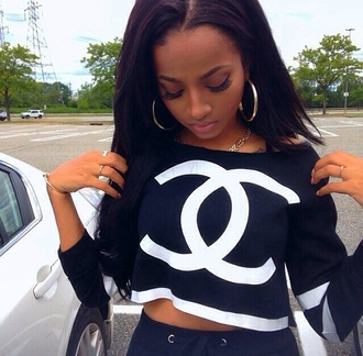 blouse chanel coco chanel shirt top long sleeve black & white crop