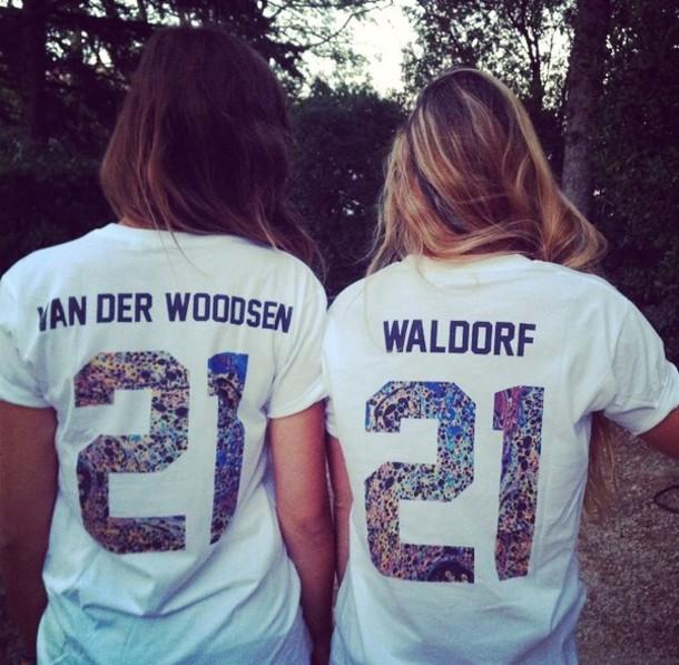 t-shirt gossip girl gossip girl van der woodsen waldorf serena van der woodsen blair waldorf shirt jersey best friend shirts white t-shirt multicolor top