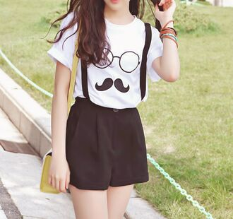t-shirt moustache jumpsuit likeaboss shorts glasses fashion fashion inspo outfit cute korean fashion style shirt nerd kawaii trendy black and white spring summer