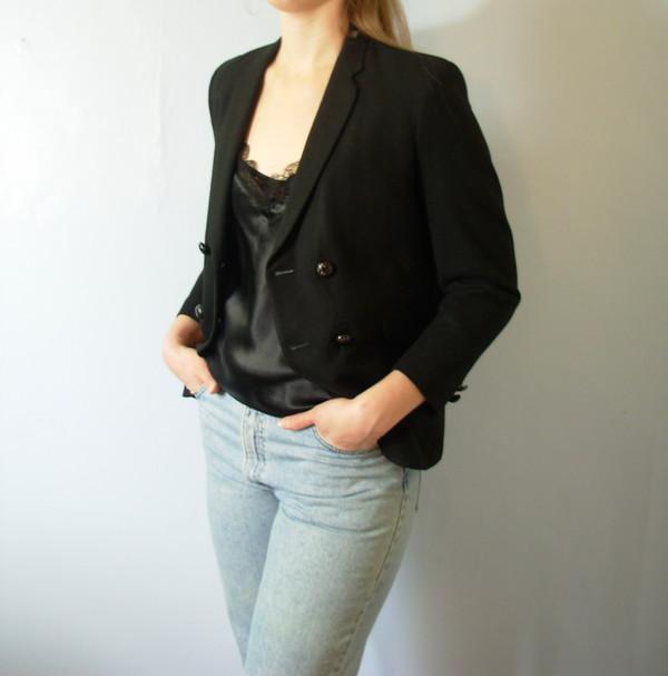 jacket wool wool coat black jacket vintage etsy manor black blazer blazer double breasted