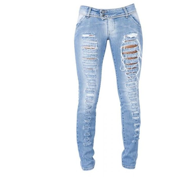 Light Wash Ripped Skinny Jeans - Polyvore