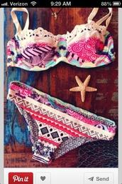 swimwear,aztec,bikini,coulorful,beautiful,summer,tribal patten,bohemian,indie boho,pattern bikini pinterest
