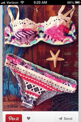 swimwear aztec bikini coulorful beautiful summer tribal patten bohemian indie boho pattern bikini pinterest