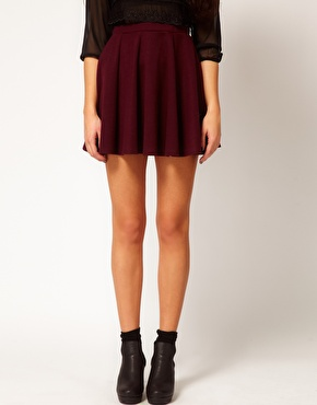 River island burgundy ponte skater skirt at asos.com