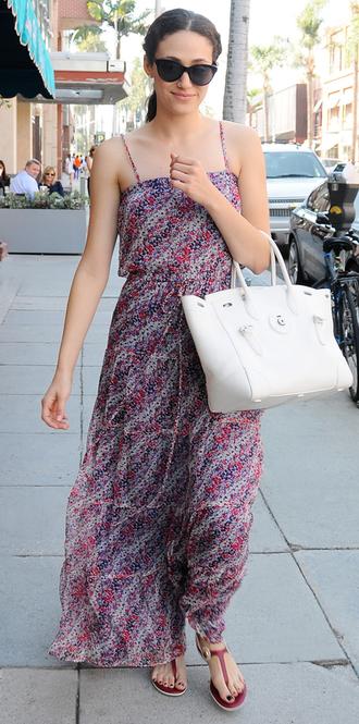 dress summer dress maxi dress emmy rossum sandals sunglasses purse shoes