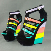 shoes,heels,high,tall,colorblock,rainbow,pastel,fashion,original,amazing,wedges,original shoes,colored wedges,wedge sandals,multicolor