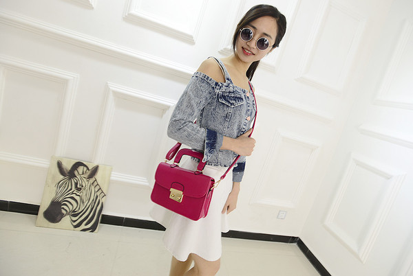 bag messenger bag fashion red denim jeans denim jacket white dress sunglasses
