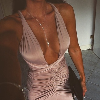 dress beige party party dress summer kardashians wrap dress bodycon dress tan necklace bracelets silk maxi dress