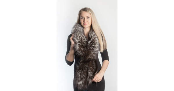 Silver fox fur scarf - long