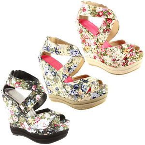 Womens High Wedge Heel Platform Floral Sandal Shoes 3 8 | eBay
