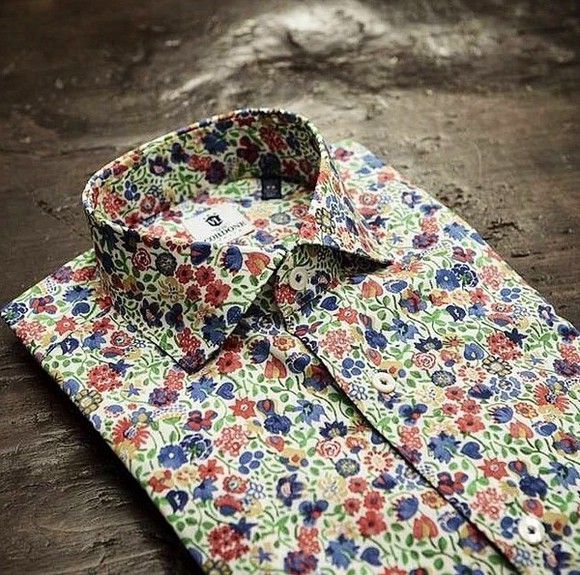 fashion style dress shirt floral menswear designer red luxury
