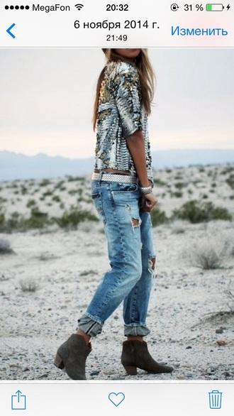 blouse glitter silver glitter snake print