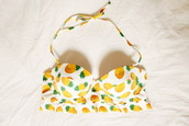 bikini,fruits,pineapple print,pineapple,pineapple swimsuit,halter bikini,bikini top,patterned swimwear,swimwear
