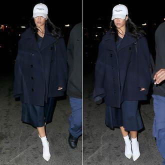 coat pumps socks rihanna fall outfits hat navy shoes