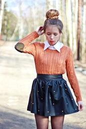 sweater,cloths,girl,skirt,knitted top,hair,skin,lips
