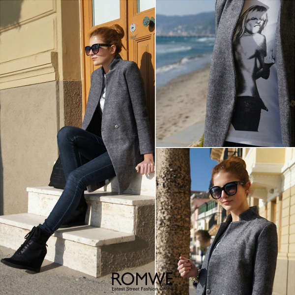Stand collar grey coat, the latest street fashion