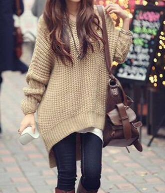 sweater large beige brown