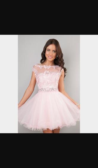 blush pink party dress homecoming dress
