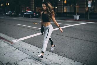pants nike sweatpants joggers pants grey pants black stripes