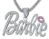 jewels,barbie,necklace,blingy,cute,bold,silver,pink,chinky,chunky,chunky necklace