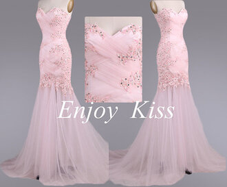 dress appliqued prom dress mermaid pearl pink prom dress mermaid prom dress affordable prom dress strapless prom dress long evening dress