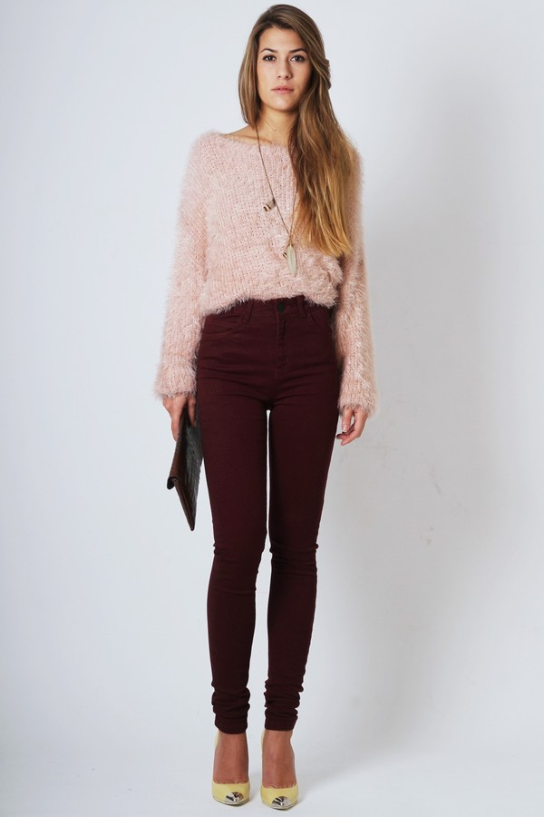 NEW LOOK 30in Burgundy High Waisted Skinny Jeans SIZE 14 | eBay