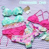 swimwear,hobie,bikini,tie dye,hot pink,mint,iceblue,beach,summer,spring break