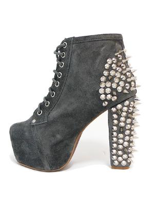 The Jeffrey Campbell Lita Spike Shoes in Grey Suede with Silver Spikes