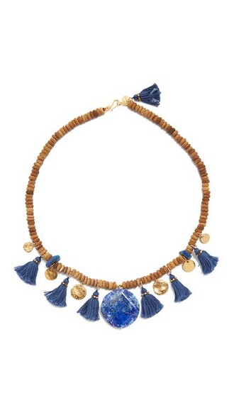 tassel necklace blue jewels