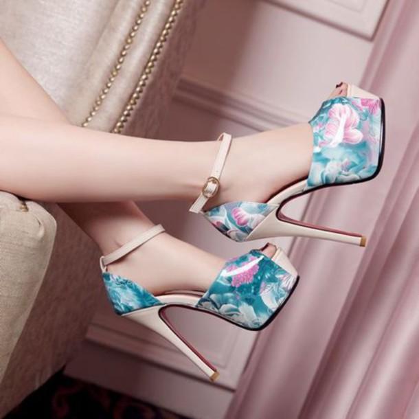 shoes high heels heels platform high heels floral floral shoes floral high heels floral heels teal pink blue ankle strap ankle strap heels ankle strap heels beige