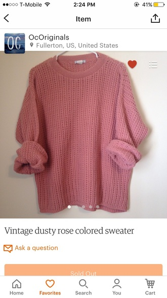 sweater dusty rose pink sweater