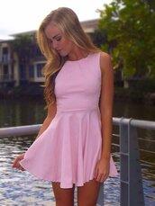 dress,pink,peplum dress,pink dress,short dress,summer,skater dress,summer dress,dance,cute,cute dress