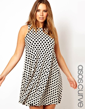 ASOS Curve | ASOS CURVE Exclusive Swing Dress In Spot Print at ASOS