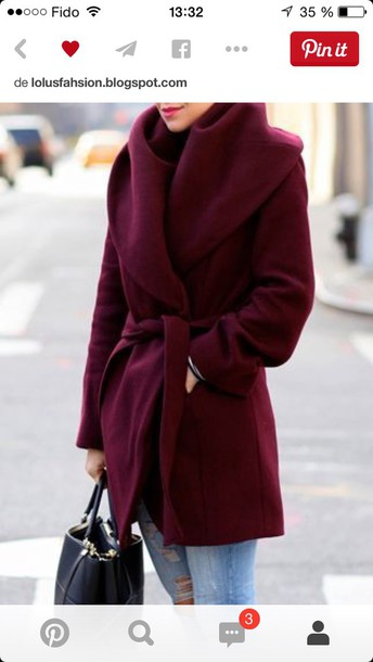 coat burgundy jacket wrap tie women's burgundy