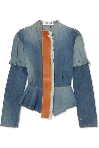 jacket peplum jacket denim leather