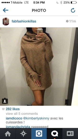 dress gold brown dress sweater knitted sweater turtleneck