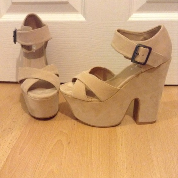 shoes beige shoes high heels wedges nude shoes