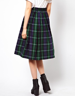 ASOS | ASOS Full Midi Skirt in Plaid Check at ASOS