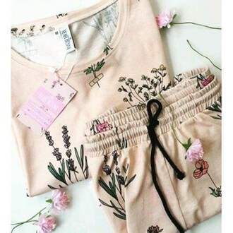 blouse yeah bunny long sleeves cute pink pastel floral flowers comfy cotton pajamas