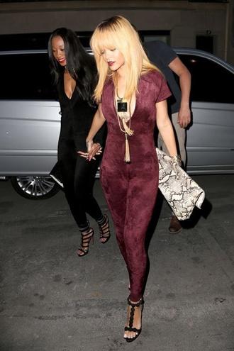 jumpsuit burgundy jumpsuit nightlife azzedine alaia style