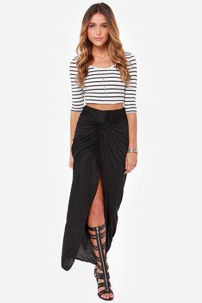 Flirty Black Skirt - Maxi Skirt - High-Waisted Skirt - $47.00