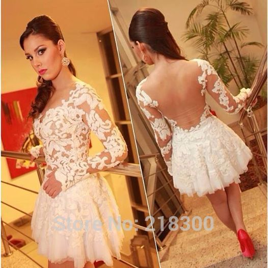 Aliexpress.com : Buy Long Sleeves Backless White Lace Short Prom Dresses See Through Homecoming Dresses Cocktail Dress Above Knee Length from Reliable dresse suppliers on MyPromDresses | Alibaba Group