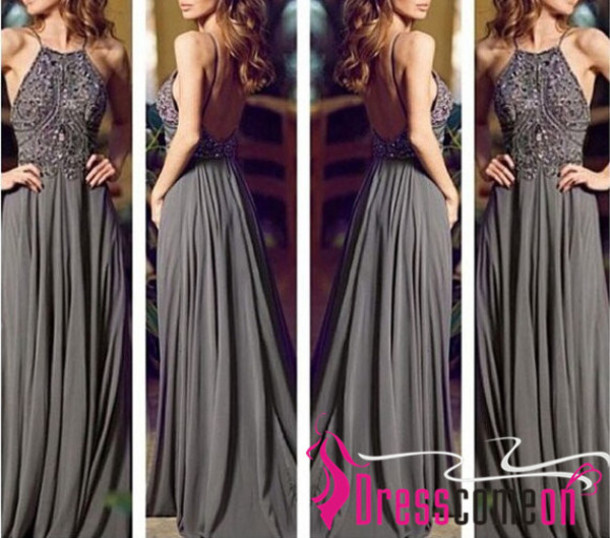 bd0deb6df1dcb dress undefined gray chiffon prom dress gray chiffon long dress backless prom  dress grey grey t