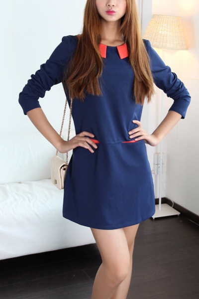 Color Block Peter Pan Collar Long Sleeve Shift Dress - OASAP.com