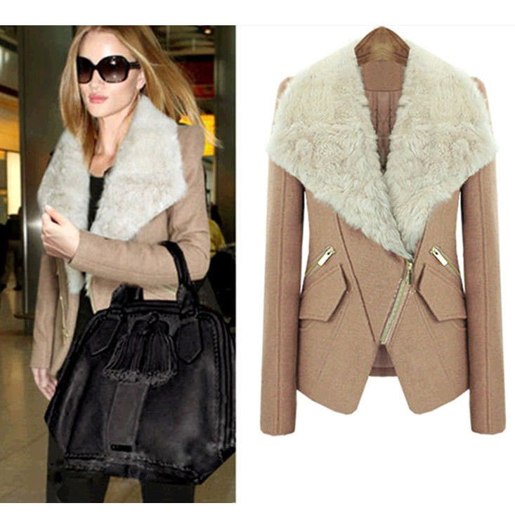 Women Winter Coat Fur Collar Lapel Golilla Jacket Fashion Short Parka Outwear | eBay