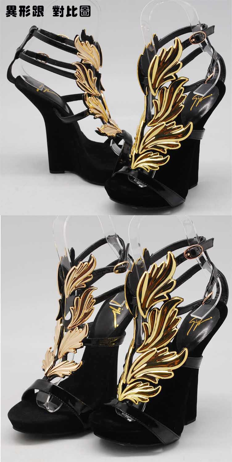 2013 Hot women's high heel sandals gold leaf wedge pumps flame sandal shoes Star Shoes Fashion women Genuine leather high heels-inSandals from Shoes on Aliexpress.com