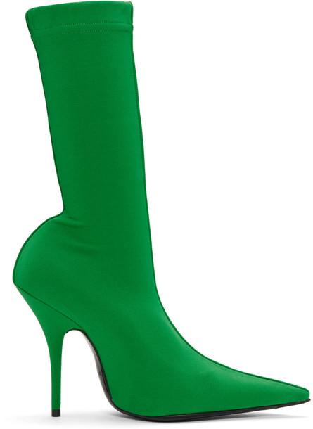 Balenciaga sock boots green shoes